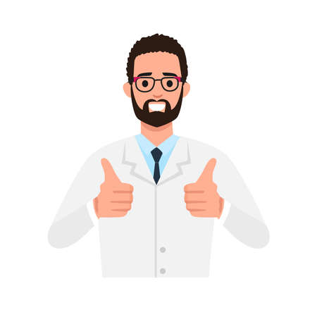 Happy senior doctor shows thumbs up gesture cool. A vector illustration of male doctor posing