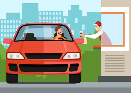 Driver in car takes fast food order at Drive Thru counter. Vector illustration of distance service scene in coronavirus pandemic, infection prevention Vetores