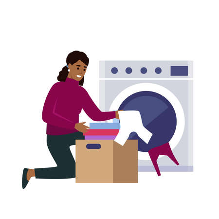 African american Woman doing laundry at home. Flat style vector illustration isolated on white background.