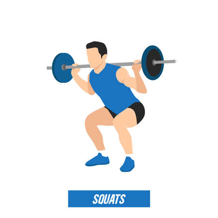 young athlete powerlifter squat in powerlifting isolated on white background for infographic Vectores