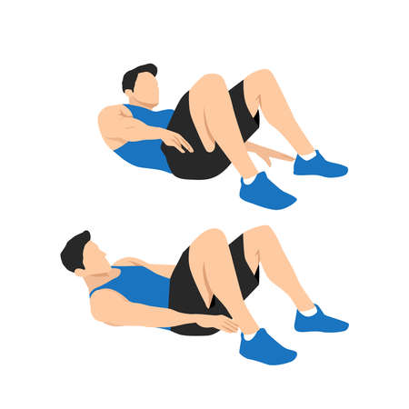 Alternate Heel Touchers. Lying oblique reach, abs exercise workout flat illustration Ilustração