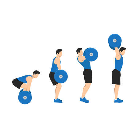 Sports man training shoulder push press and thruster snatch workout. CrossFit sport exercise. Healthy active fitness body shape. Barbell power snatch