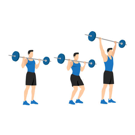 Sports man training shoulder push press and thruster snatch workout. CrossFit sport exercise. Healthy active fitness body shape motivation.