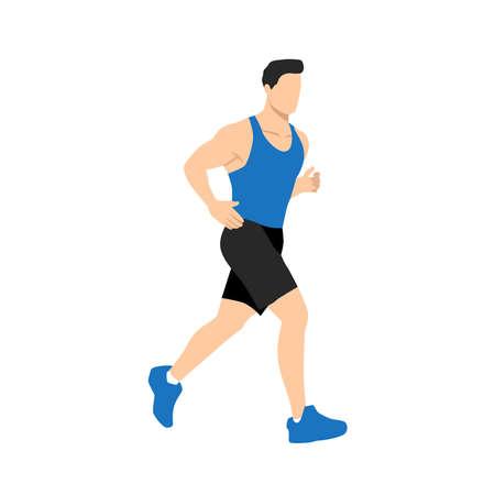 Muscular adult man running or jogging. Workout excercise. Marathon athlete doing sprint outdoor - Simple flat vector illustration. Ilustración de vector