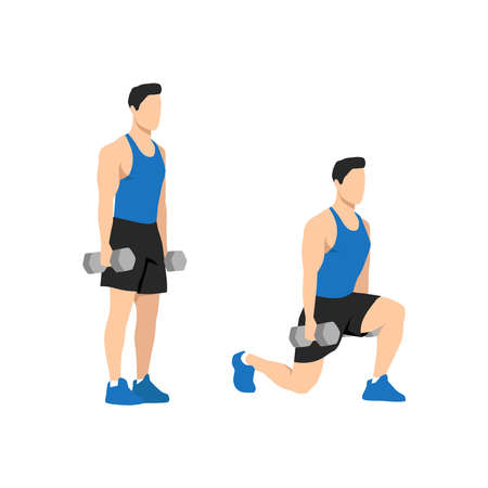 Man doing dumbbell lunges. Vector set of workout icons in flat style isolated on white background. 矢量图像