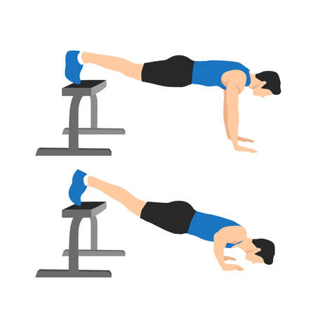 Sport man do the Decline push ups with Feet on bench for exercise. Illustration about Workout at home. Fitness at the gym.