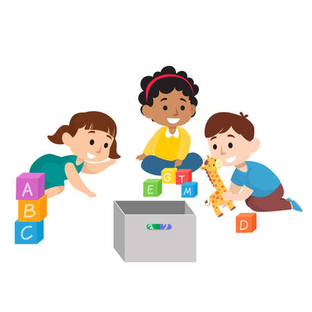 Cute children diversity playing with toys and dolls flat illustration set isolated on white background Vetores