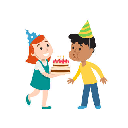 Happy group of children having fun at birthday party. Child blows out candles on cake. Ilustração Vetorial