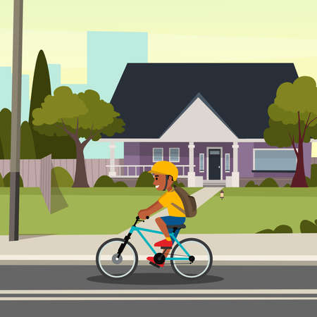 old vintage house with boy riding bicycle in front flat vector illustration design