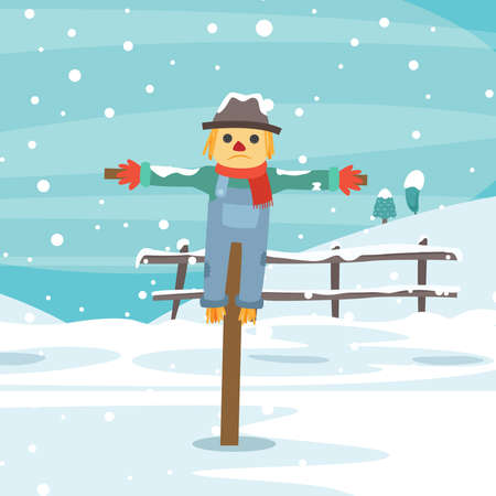 Sad scarecrow character in the middle of winter alone. Vector flat cartoon isolated illustration