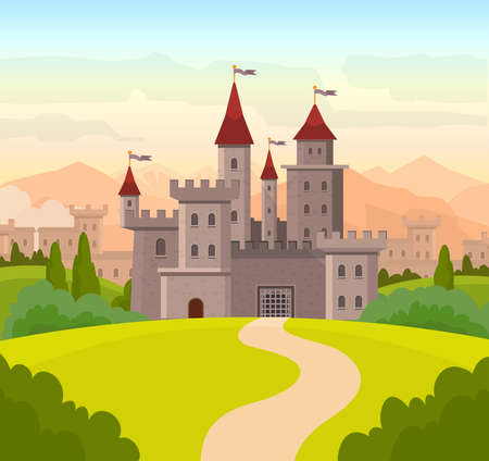 Vector illustration for children book with fairy castle. Medieval fairytale magical magic fortress fort royal palace.  イラスト・ベクター素材