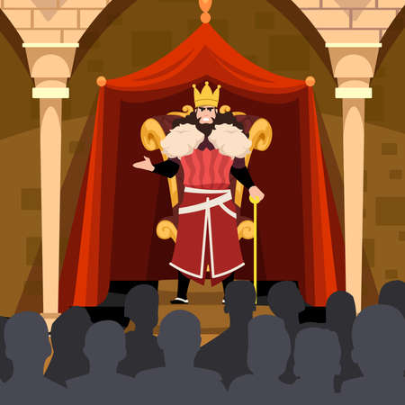 king in front of his royal throne talking or giving speech to his people flat illustration character