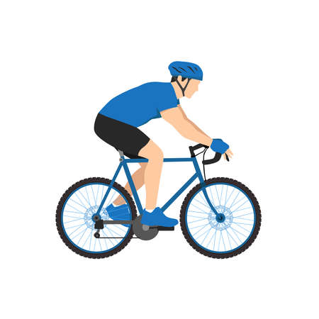 Sport athlete cyclist vector illustration. Man in sportswear and helmet riding bike flat style design. Extreme sport concept. Isolated on white background Illusztráció