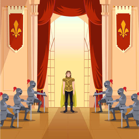 The young prince walked into the castle hall with soldiers bowing to him respectfully flat illustration Çizim