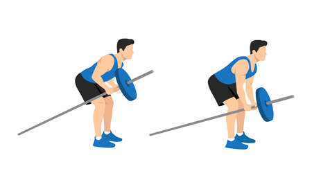 Bent-over row. Top body workout. Upper body exercises. Flat vector illustration. Bent over T-Bar row Vettoriali