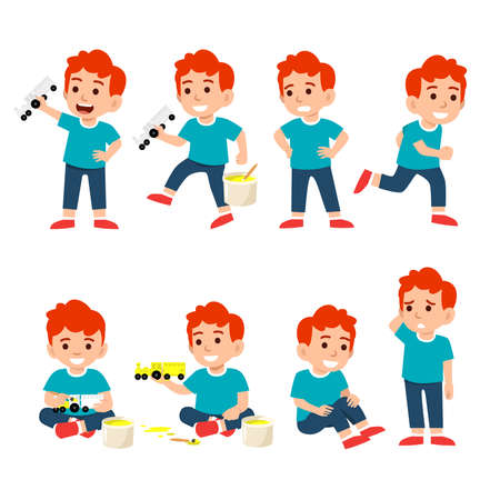 cute little boy character set flat vector illustration isolated on different layers, with editable vector file