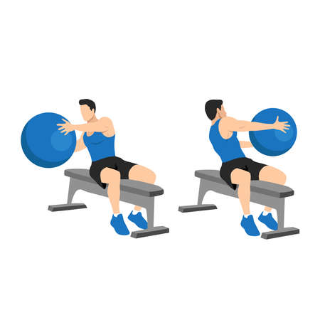 Man doing fitness workout, practicing abs exercise with med ball at gym. Male athlete exercising, doing russian twist with medicine ball.