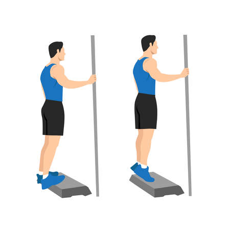Exercises that can be done at-home. Stand on a step so your heel can drop lower than the rest of your foot at the bottom of the movement. with Calf raises posture.