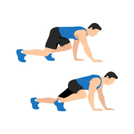 Bear Crawl Exercise introduction step with healthy man. Illustration about workout position guideline.