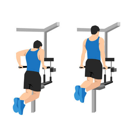 Flat design illustration with male character doing dips on parallel bars in the gym Ilustração