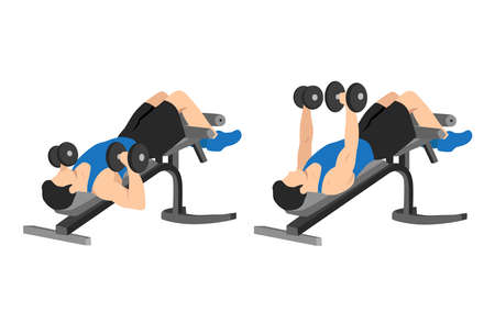 Man doing decline bench barbell press flat vector illustration isolated on different layers
