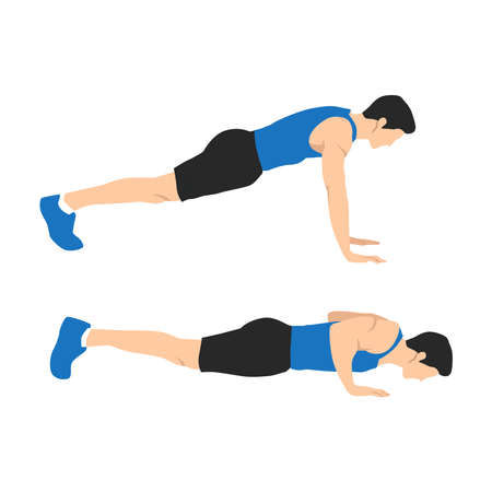 Man character doing push ups flat vector illustration isolated on different layers Illustration