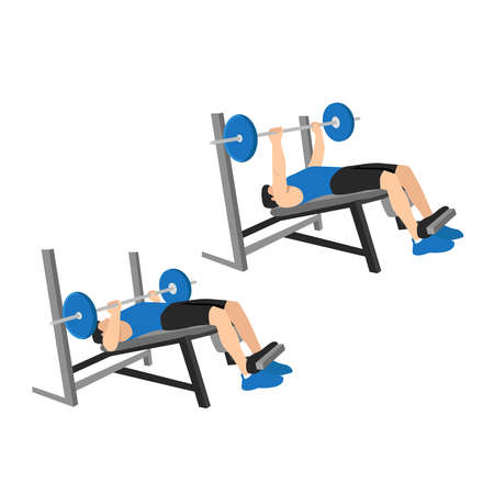 Man doing decline barbell bench press flat vector illustration isolated on different layers