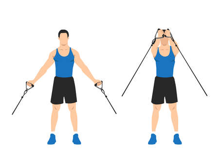 low upward cable pulley crossover chest flyes flat vector illustration isolated on layers