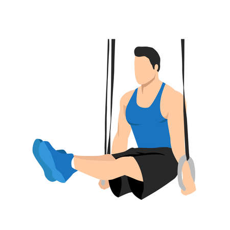 Man doing gymnastic Ring L-Holds.Abdominals exercise. Flat vector illustration isolated on white background. Editable file with layers 矢量图像