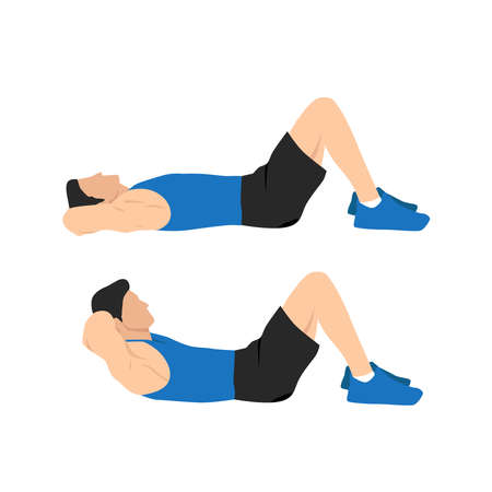 Man doing crunches. Abdominals exercise. Flat vector illustration isolated on white background.Editable file with layers