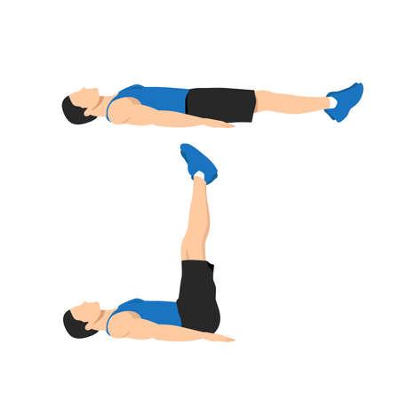 Man doing lying leg raises exercise. Abdominals exercise. body weight lifts flat vector illustration