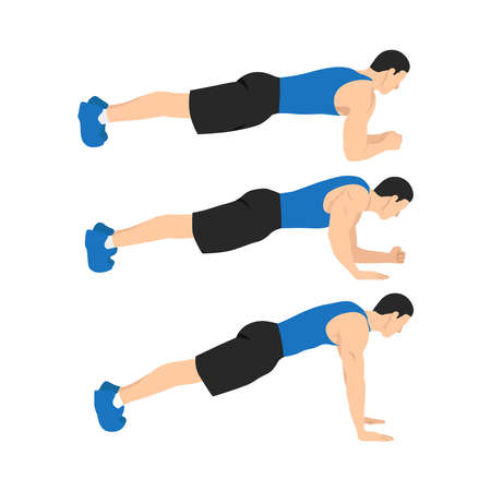 Man doing plank to push ups movement. walking plank up-downs. abs exercise flat vector illustration isolated on white background