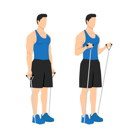 Man doing Resistance band bicep curls exercise. Arm workout. Flat vector illustration of a fitness man isolated on white background
