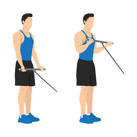 Man doing standing bicep cable curls exercise. Flat vector illustration isolated on different layer. Workout character