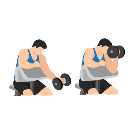 Man doing one arm dumbbell preacher curl. Flat vector illustration isolated on different layer. Workout character Vectores