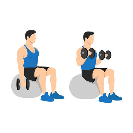 Man doing exercise Swiss ball bicep curls with dumbbell. Flat vector illustration isolated on different layer. Workout character Vettoriali