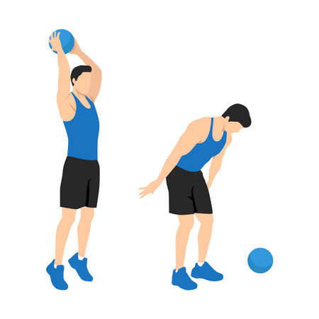 Man doing Medicine ball slams exercise. Flat vector illustration isolated on white background. Workout character Vetores