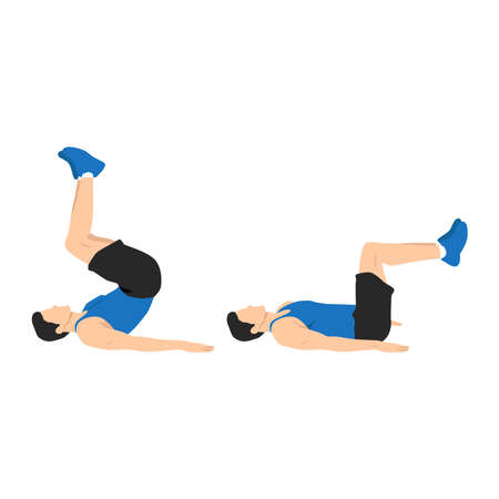 Man doing reverse crunch exercise. Flat vector illustration isolated on white background. Layered vector. abs workout Vecteurs