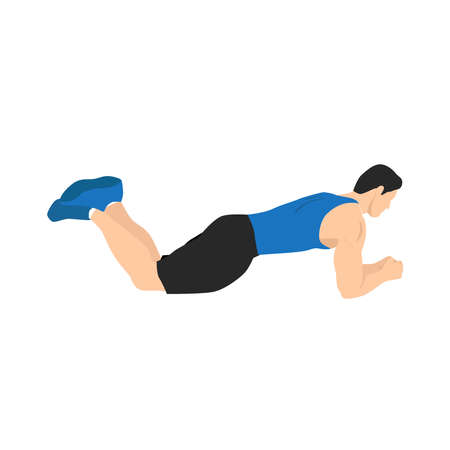 Man doing knee plank exercise. Flat vector illustration isolated on white background. Layered vector. Workout character