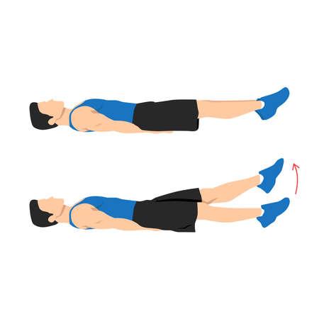 Man doing flutter kicks exercise. Flat vector illustration isolated on white background. Workout character Vecteurs