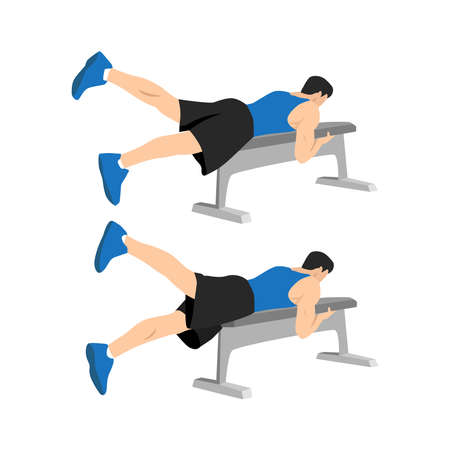 Man doing Bench flutter kicks exercise. Flat vector illustration isolated on white background. Workout character