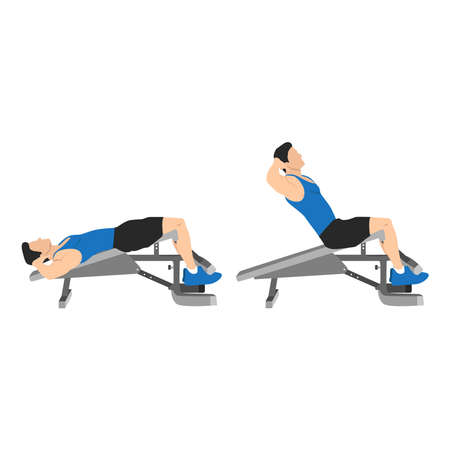 Man doing decline bench crunches exercise. Sit ups flat vector illustration isolated on white background. Layered workout character Vettoriali