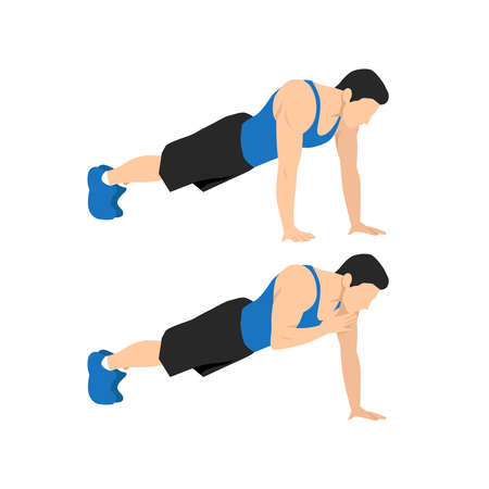 Man doing plank shoulder taps exercise. Flat vector illustration isolated on white background. Layered vector. Abs workout