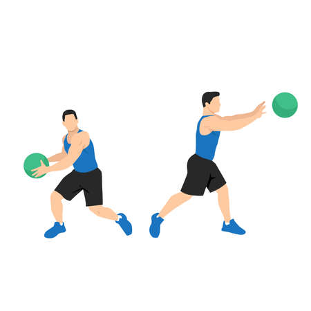Medicine ball rotational passes exercise. Flat vector illustration isolated on white background. workout character set