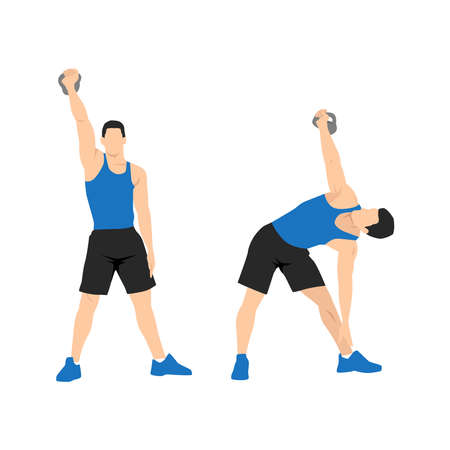 Kettlebell windmills exercise. Flat vector illustration isolated on white background. workout character set Vecteurs