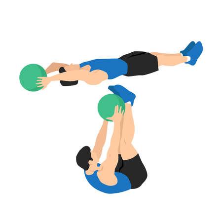 Medicine ball v-ups exercise. Flat vector illustration isolated on white background. workout character set
