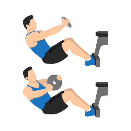 Russian mason v-sits twists exercise. Flat vector illustration isolated on white background. workout character set