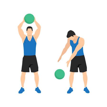 Medicine ball. Alternating side slams exercise. Flat vector illustration isolated on white background. workout character set Illustration