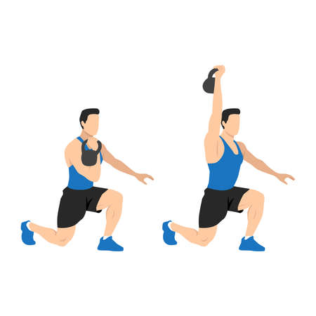 Kneeling kettlebell press exercise. Flat vector illustration isolated on white background.Workout character