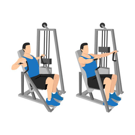 Hammer strength machine. Seated chest press exercise. Flat vector illustration isolated on white background. Workout character
